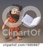 3d Cartoon Prehistoric Caveman Character Reading A Book 3d Illustration