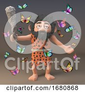 Poster, Art Print Of Cartoon 3d Prehistoric Caveman Character Surrounded By Butterflies 3d Illustration