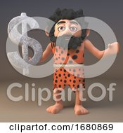 Poster, Art Print Of Cartoon 3d Prehistoric Caveman Character Holding A Stone Us Dollar Currency Symbol 3d Illustration