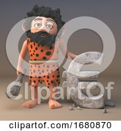 Poster, Art Print Of 3d Cartoon Prehistoric Caveman Character Has Carved A Euro Currency Symbol In Rock 3d Illustration