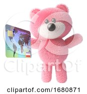 Pink Cute 3d Teddy Bear Soft Toy Character Holding A Credit Card Debit Card 3d Illustration