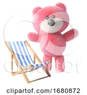 Poster, Art Print Of Pink Fluffy Cute 3d Teddy Bear Character Standing By A Deck Chair 3d Illustration