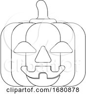 Halloween Cute Pumpkin Cartoon In Outline