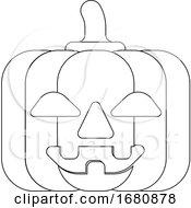 09/28/2019 - Halloween Cute Pumpkin Cartoon In Outline