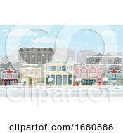 Poster, Art Print Of Christmas Snow Houses And Shops Street Scene