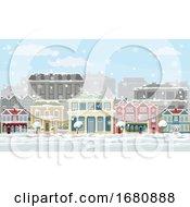 09/28/2019 - Christmas Snow Houses And Shops Street Scene