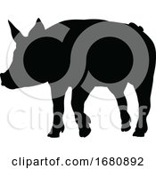 Pig Silhouette Farm Animal