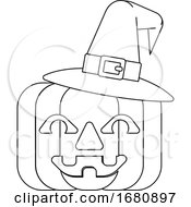 Halloween Witch Hat Pumpkin In Outline