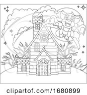 Halloween Haunted House And Bat Cartoon Scene