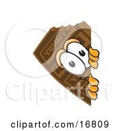 Chocolate Candy Bar Mascot Cartoon Character Peeking Around A Corner