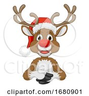 Christmas Reindeer In Santa Hat Cartoon