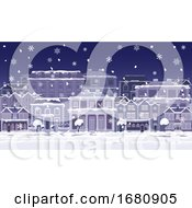 Poster, Art Print Of Christmas Night Snow Houses And Shops Street Scene