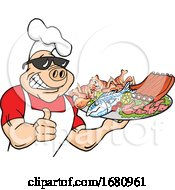 Happy Muscular Chef Pig Wearing A Hat And Sunglasses Holding A Thumb Up And A Plate Of FoodHappy Muscular Chef Pig Wearing A Hat And Sunglasses Holding A Thumb Up And A Plate Of Food