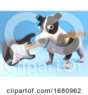 Poster, Art Print Of Cute 3d Puppy Dog Character Holding An Electric Guitar In His Mouth 3d Illustration