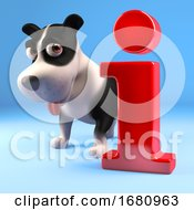 Poster, Art Print Of Cute Cartoon 3d Puppy Dog Standing By An Information Symbol 3d Illustration
