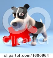 Poster, Art Print Of Funny 3d Cartoon Puppy Dog Holding A Piece Of A Jigsaw Puzzle In His Mouth 3d Illustration