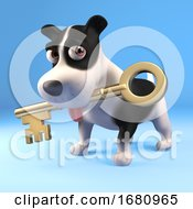 Poster, Art Print Of Funny 3d Cartoon Puppy Dog Holding A Gold Key In His Mouth 3d Illustration