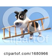 Poster, Art Print Of 3d Funny Cartoon Puppy Dog Character Holding A Ladder In His Mouth 3d Illustration