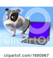 Poster, Art Print Of Funny 3d Cartoon Puppy Dog Standing By A Laptop Pc Computer Device 3d Illustration