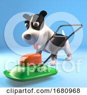 Poster, Art Print Of Funny Cartoon 3d Puppy Dog Standing By A Lawnmower 3d Illustration