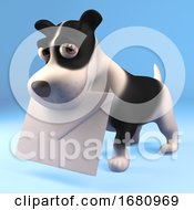 Poster, Art Print Of Funny Cartoon 3d Puppy Dog Holding An Envelope Mail Message In His Mouth 3d Illustration