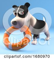 Poster, Art Print Of Cartoon 3d Funny Puppy Dog Holding A Life Ring Life Preserver In His Mouth 3d Illustration