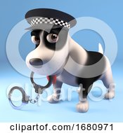 Poster, Art Print Of Funny 3d Cartoon Puppy Dog Dressed As A Police Man Holding Pair Of Handcuffs In His Mouth 3d Illustration