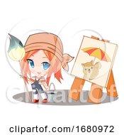Poster, Art Print Of Manga Girl Painter By Her Artwork