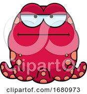 Cartoon Bored Pink Octopus
