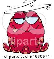 Cartoon Drunk Pink Octopus
