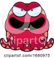 Cartoon Evil Pink Octopus