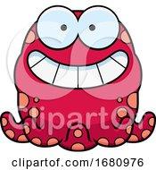 Cartoon Grinning Pink Octopus