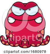 Cartoon Mad Pink Octopus