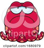 Cartoon Depressed Pink Octopus