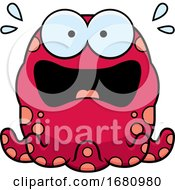 Cartoon Scared Pink Octopus
