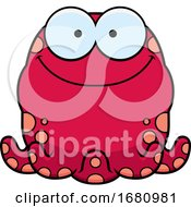 Cartoon Happy Pink Octopus