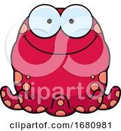 Cartoon Happy Pink Octopus