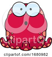 Cartoon Surprised Pink Octopus