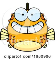 Cartoon Grinning Blowfish