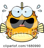 Cartoon Scared Blowfish