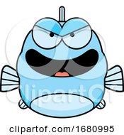 Cartoon Evil Blue Fish