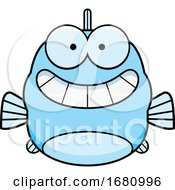 Cartoon Grinning Blue Fish