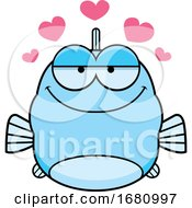 Cartoon Loving Blue Fish