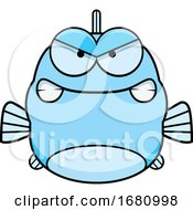 Cartoon Mad Blue Fish