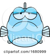 Cartoon Depressed Blue Fish