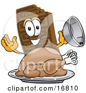 Clipart Picture Of A Chocolate Candy Bar Mascot Cartoon Character Serving A Thanksgiving Turkey On A Platter