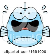 Cartoon Scared Blue Fish