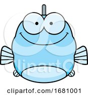 Cartoon Happy Blue Fish