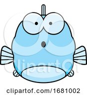 Cartoon Surprised Blue Fish