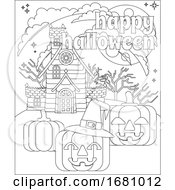 Happy Halloween Haunted House Pumpkin Background